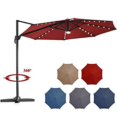 Tangkula 10 ft Solar LED Patio Cantilever Offset Umbrella with 360 Degree Rotation, Outdoor Market Umbrella with Cross Base and Cover, Outdoor Umbrella with Center Light (Burgundy)