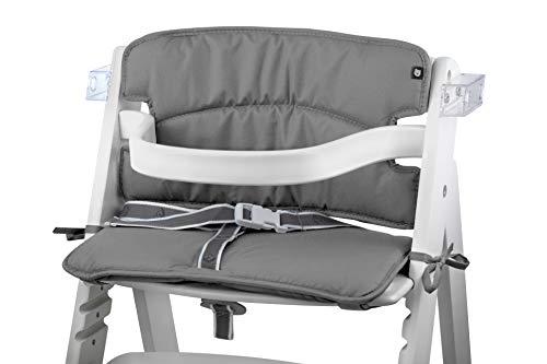 Tinydo Hochstuhl-Sitzkissen optimal für Roba und alle ähnlichen Treppenhochstühle - 2teilg. Set mit Memory-Schaum-Dämpfung Sitzverkleinerer-Auflage für Babystühle- rutschfest, pflegeleicht (hellgrau)
