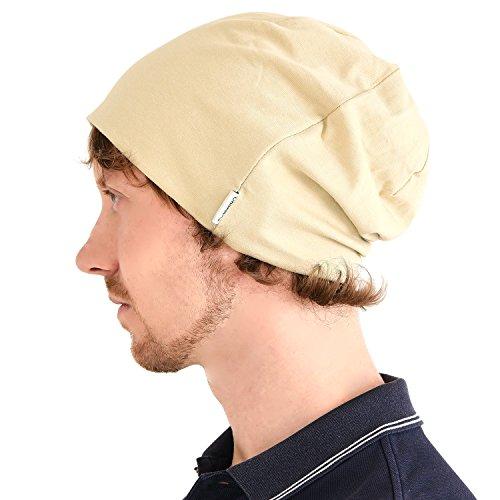 Casualbox Cotone Beanie Berretto per Uomo Donna Morbido Estate Inverno Chemio Cappello Tutto Stagione Beige