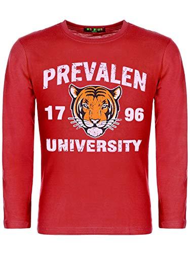 Kinder Jungen Pullover Langarm-Shirt Pulli Sweater Motiv Druck Tiger 30121 Rot 158/164 (Herstellergröße 16 170/176)