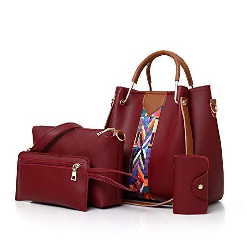 Jagir Set Borse Donna,Coofit 3 pezzi Borse a Man e a spalla +Piccola Borse a Tracolla+Portafoglio (red)