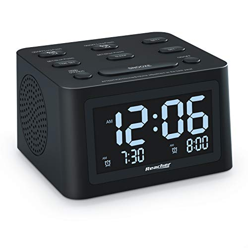 REACHER R3 Dual Alarm Clock and White Noise Machine with Adjustable Volume, 6 Wake Up Sounds, 12 Soothing Sounds for Sleeping, Auto-Off Timer, USB Charger, Battery Backup , 0-100% Dimmer for Bedroom