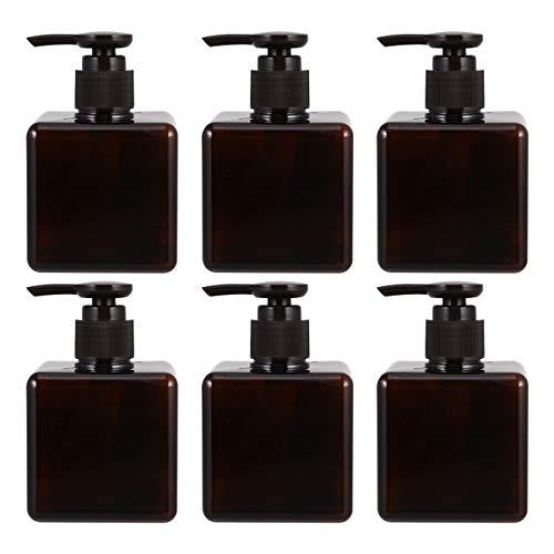 Uonlytech Bouteilles de Pompe Vides Bouteille de Stockage de Liquide Rechargeable Bouteille D'huile Essentielle pour Les Voyages à Domicile (Brun 250 ML 6 Pièces)