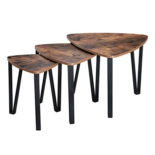 VASAGLE Industrial Nesting Coffee Table, Set of 3 End Tables for Living Room, Stacking Side Tables,...