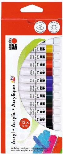 Marabu 1210000000200 - Acrylfarbenset, deckende Acrylfarben auf Wasserbasis, für Untergründe wie Keilrahmen, Malkarton, Papier und Holz geeignet, schnell trocknend, matt glänzend, 12 x 12 ml Farbe
