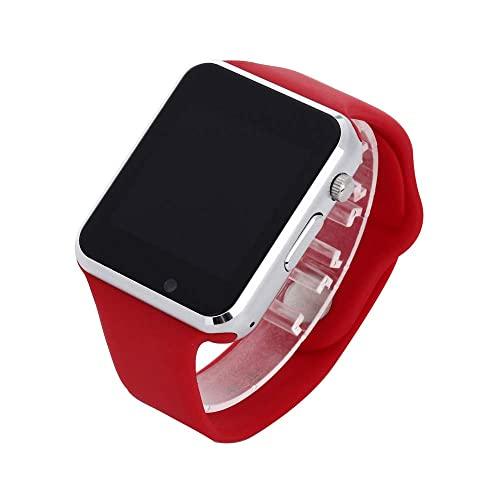Smart Watch Orologio da polso Bluetooth Smart Watch Sport Pedometro con fotocamera SIM Smartwatch per smartphone Android, rosso (rosso)