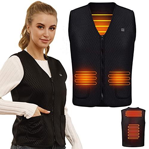 WELLPATH Gilet riscaldato aggiornato per donna uomo, gilet caldo riscaldato elettrico USB Abbigliamento riscaldato lavabile per donna all aperto Campeggio Escursionismo Sci (batteria non inclusa)