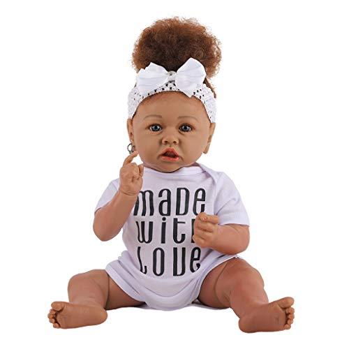 Boneca bebê recém-nascido de 58,4 cm com pele negra africana, corpo inteiro de silicone, realista, feito à mão, recém-nascidos, recém-nascidos, meninas, chupeta magnética