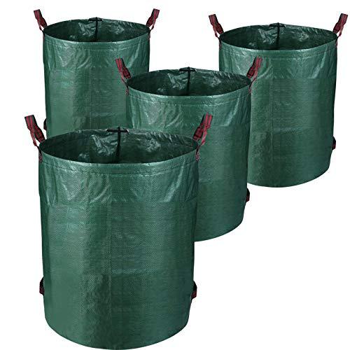 BMOT 4er Set Gartensack, 272L Gartenabfallsack Langlebiges, aus robustem Polyethylen(PE) Selbststehend Faltbar Laubsäcke Gartensäcke, Mit 4 Griffe
