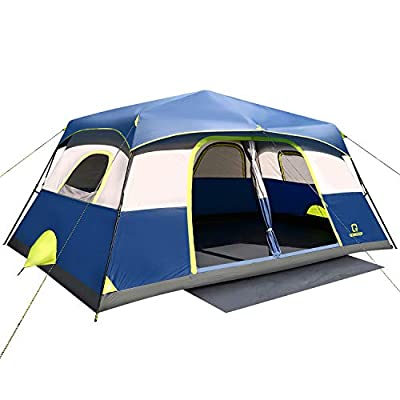 OT QOMOTOP Family Camping Tents for All Seasons,10 Person Instant Setup (60s) Tents with Top Rainfly and Carry Bag, Windproof Waterproof Tents with Gate Mat