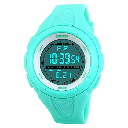 FeiWen Damen Fashion Multifunktional Armbanduhren Klein Blau Plastik Schale mit Kautschuk Band 50M Wasserdicht Einfach Sport Digital Uhren für Mädchen
