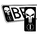 SkinoEu 2 x PVC Laminado Adhesivos Stickers Pegatinas para Placa de Matrícula UE Bandera Nacional de Italia IT Punisher Cráneo Autos Coches Motos Ciclomotores QV 41