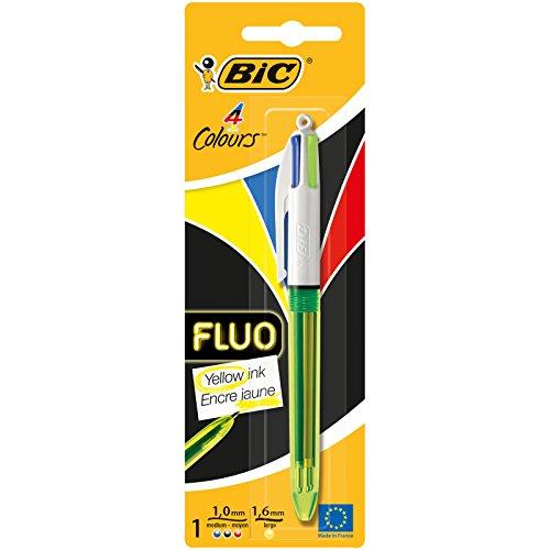 BIC vier Farben Kugelschreiber Fluo – Kugelschreiber dokumentenecht mit roter, blauer, schwarzer und neongelber Mine mit Highlight-Funktion – Blister á 1 Stück