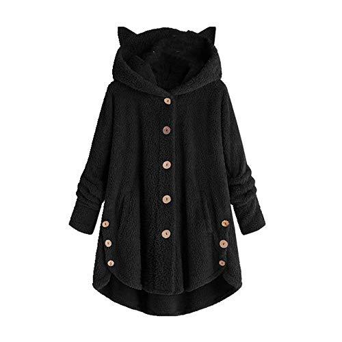 Frauen Flauschiger Mantel Lose Hoodie Sweatshirt Solid Winter Kawaii Katzenohren Kapuzenpullover Knöpfe Fleece Jacken Trainingsanzug Mantel Plus Gr. XL, Schwarz