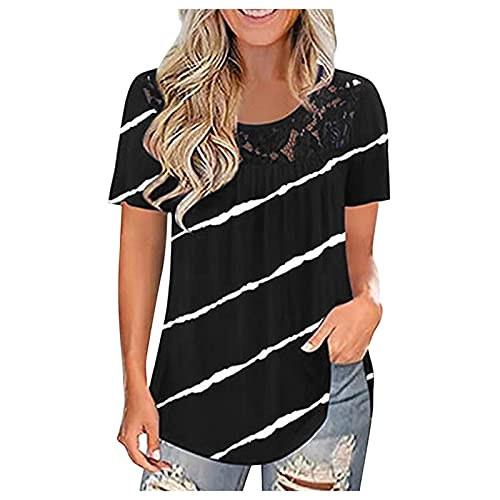 VEMOW Blusas y Camisas Manga Corta Para Mujer, Suelta Casual Camisa Blusa Elegante Vintage de Cuello Redondo con Estampado de Costura de Encaje Túnica Tops Jersey Largo Shirts Streetwear(J Negro,XXL)