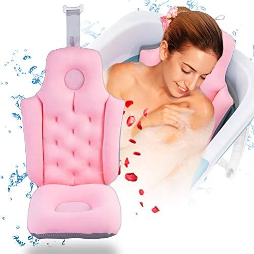JSBVM Estera de baño de Cuerpo Completo, Desmontable Multifuncional Estera de Almohada de bañera SPA Suave para Respaldo, Soporte de Cabeza, Cuello y Cola,Rosado