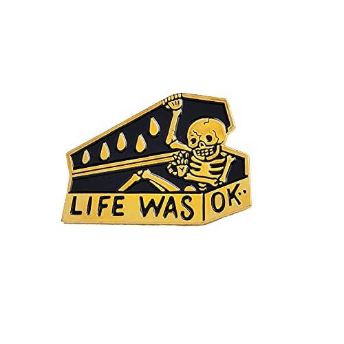 Esqueleto en ataúd broche humor oscuro pin chaqueta vaquera Pin hebilla camisa insignia regalo de moda para amigo 3,6 * 2,5 cm