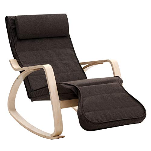 Recliners Removable Side Bag,FST20-BR,Brown Lounge Chair Haotian Rocker Chair with Foot Rest Design