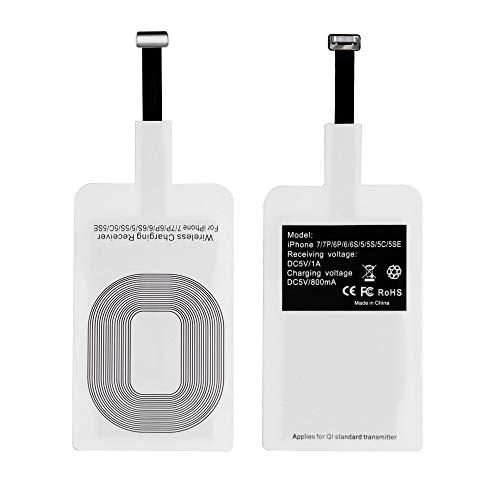 Qi Receiver, Adaptador Qi inalámbrico Ultra Delgado de Carga Qi Receptor de Carga inalámbrico Compatible con Apple iPhone 7/7 Plus, iPhone 6/6 Plus, iPhone 5/5s/5c iOS Receptor