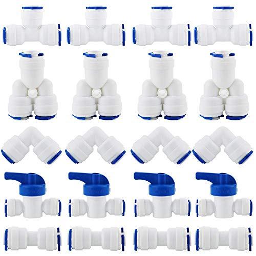 """CESFONJER RO Raccord de filtre à eau, raccord droit 1/4""""(6mm) Pushfit pour tuyau de filtre à eau, ensemble de raccords pour Réfrigérateur, (robinet combiné de type Y + T + I + L + robinet d'arrêt)"""