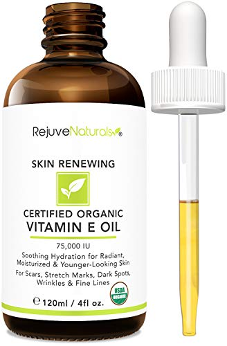 Vitamin E Oil - 100% All Natural & Organic, 75,000 IU (LARGE 4oz Bottle) Visibly Reduce the Look of Scars, Stretch Marks, Dark Spots & Wrinkles for Hydrated & Youthful Skin. Face & Body Moisturizer