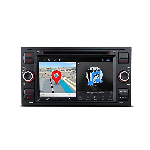 Lettore DVD stereo da 7 pollici Android 10 per FORD Focus / Fiesta, doppia unità di testa DIN Navigazione GPS per autoradio Supporta uscita RCA completa CarAutoPlay 2K 1080P Video WiFi DAB + DVR OBD2