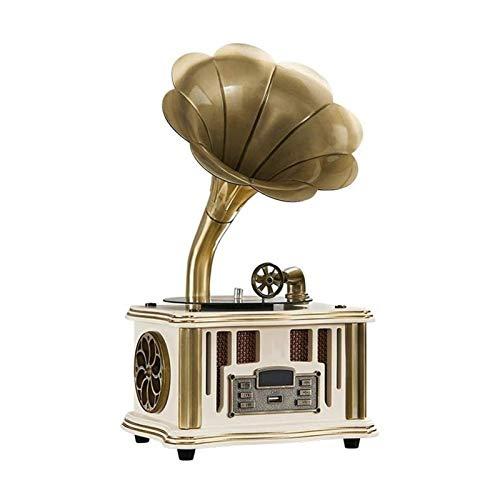 JJSFJH Altavoces inalámbricos portátiles de Alta definición de Sonido, Perilla del Interruptor de Palanca, Retro micrófono Incorporado for el Estilo Retro del gramófono Teléfono/Andriod/PC/Orden