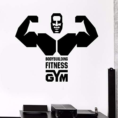 YuanMinglu Fitness Academy Bodybuilding Vierte Vinyl Wandtattoo Muscle Words Removable Dekorative Wandaufkleber Schwarz 53x42 cm