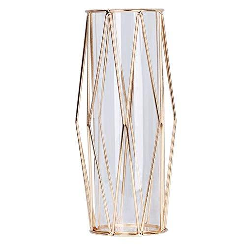 JUNGEN Deko Vase Glas Gold Blumenvase Groß Vasen Glas mit Geometrischem Metallständer für Zuhause Büro Hochzeit Kristallklare Terrarien Pflanzgefäß Knospen-glasvasen