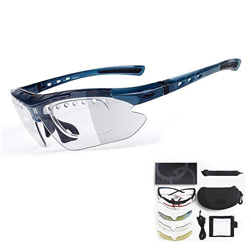 FGND Gafas de Sol Deportivas graduadas, con 3 Lentes Intercambiables Marco Brillante en la Noche para Ciclismo Correr Conducir Pescar Golf Béisbol Gafas