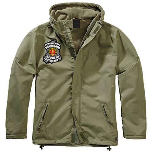 Spaß kostet Männer und Herren Gefütterter Windbreaker Jacke mit Aufnäher Unterschätze nie einen Alten Mann aus der DDR Größe S bis 7XL