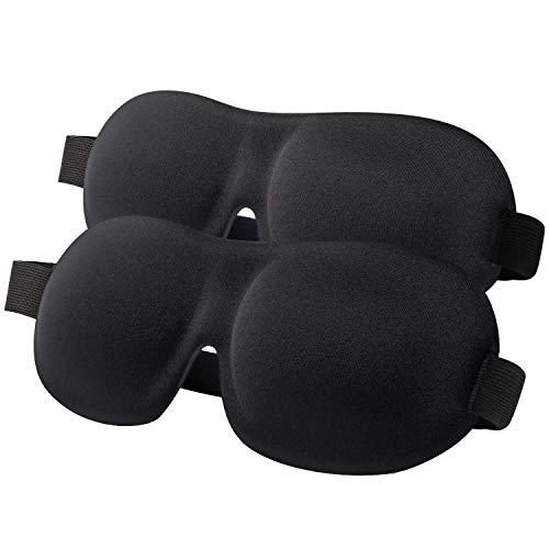Sleep Mask for Women Men, 100% Blackout Light Blindfold 2 Pack, Fully Adjustable Buckle Strap 3D...