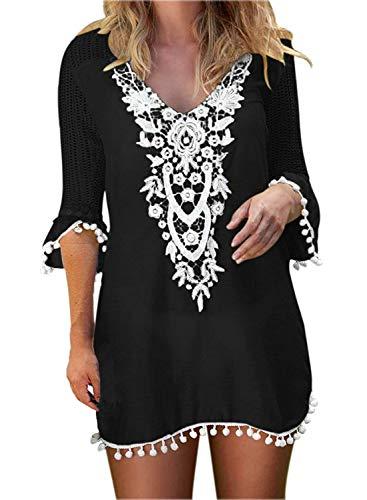Women's Pom Pom Trim Chiffon Swimwear Kaftan Cover Up Beach Sun Dress Black S