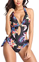 One piece monokini: Adjustable straps at neck and waist with ties at sides, easy to adjust it as your torso while also comfortable. One piece bathing suit: Composition:82% nylon and 69% spandex in great soft material, nice seam stitching at all edges...