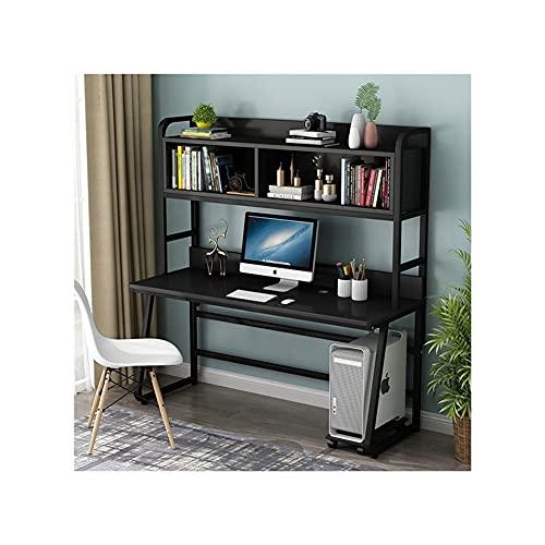 QIAOLI Escritorio de pie de 47 pulgadas con conejera y estantería, escritorio moderno para estudiante de estudio, portátil, escritorio, para casa, oficina, muebles de computadora (color: B)