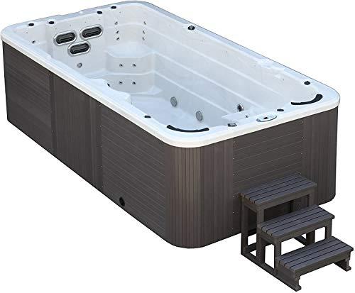 DEKO VERTRIEB BAYERN XXXL Led Swim Spa 400x230cm Whirlpool Gegenstromanlage 8 Personen Outdoor Schwimmbad Schwimmbecken inkl. Spedition