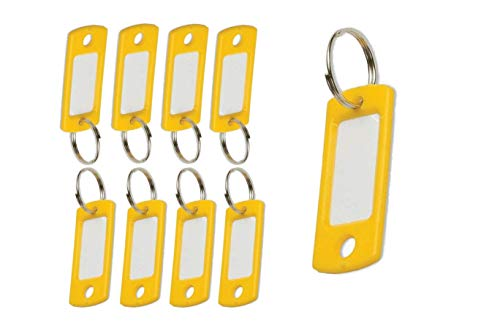 """Lucky Line Flexible Colored Plastic Key Tag with 3/4"""" Split Ring in Yellow, 50 Tags (16980)"""