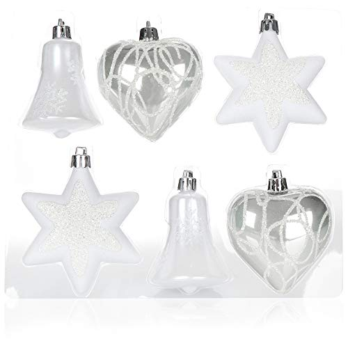 com-four® Set de 6 Piezas Adornos para árboles de Navidad - Bolas de árbol de Navidad de Diferentes Formas - Campana, corazón y Estrella para Colgar en el árbol de Navidad (Blanco/Plateado)