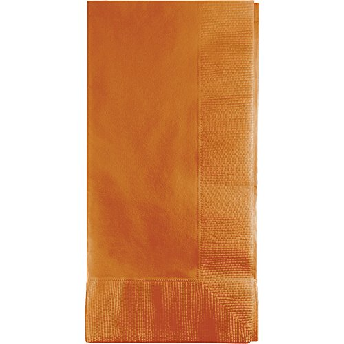 """Creative Converting 323401 2PLY 1/8FLD Touch of Color 50-Count Dinner Napkins, 1/8 Fold, Pumpkin Spice, 6.5"""" x 6.5"""", Orange"""