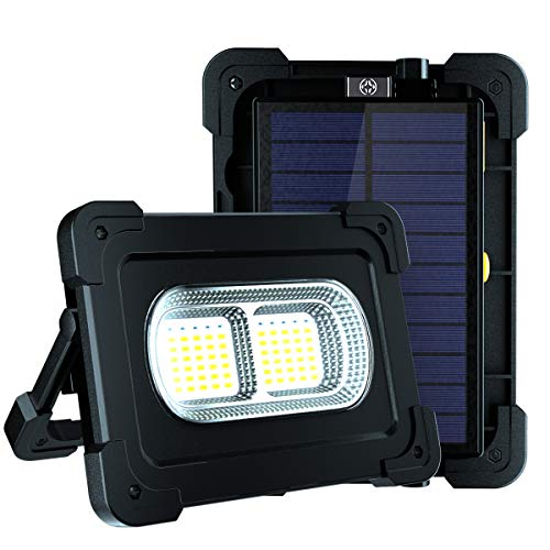 LED Rechargeable Work Light, 80W Solar Powered Floodlight 1200 Lumen with 4 Light Modes and Power Bank Port, Portable USB Magnet Security Floodlight for Camping, Car Repairing and Emergency(Black)