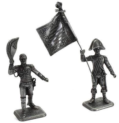 Atlas MHSP Soldat Figuren Große Napoleonische Armee Austerlitz 1805 Metall Marschall Soult und Fahnenträger Kaiserliche Garde 1:32