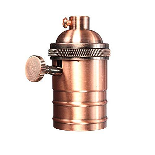 Soporte de lámpara de latón retro Edison, casquillo de luz antiguo de cobre con interruptor de tornillo para E27/E26 (latón antiguo)