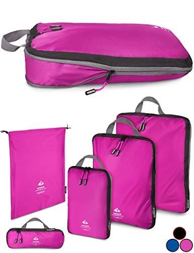 Outdoor Panda Packtasche mit Kompression - ultraleichter Packwürfel für Rucksack und Koffer - wasserabweisender Compression Packing Cubes als Gepäck Organizer und Kleidertasche (Pink, 1 x S)