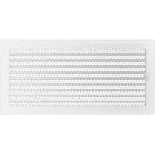 KRATKI Lüftungsgitter mit Jalousien (Lamellen) | 22 x 45 cm | Weiß | Abluftgitter für Kamin Belüftung | mechanisch -und überhitzungbeständig | Für jede Art von Innenraum