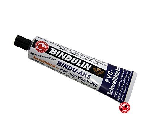 170 mL Bindu-AK5 PVC-Kleber Klebstoff für hart & weich PVC für eine verschweißte Verbindung - klebt PVC mit Leder Stoff Hol Kunststoff Abflussrohr Dachrinne Platten PVC-Planen Teichfolie Pool Vinyl