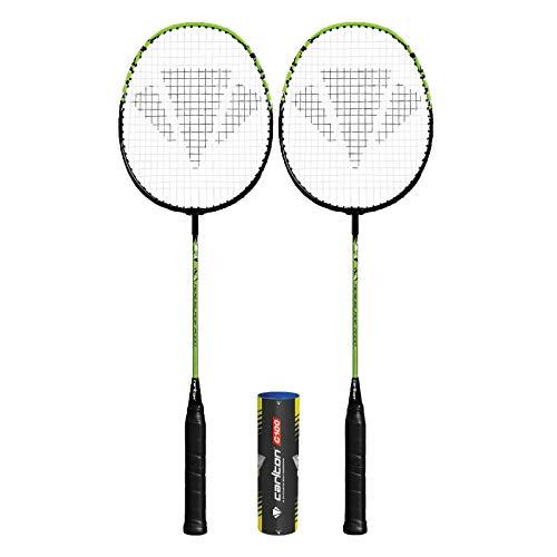 Dunlop Carlton Aeroblade 2000 Badmintonschläger x 2 + Schutzhaube + 6 Federbälle