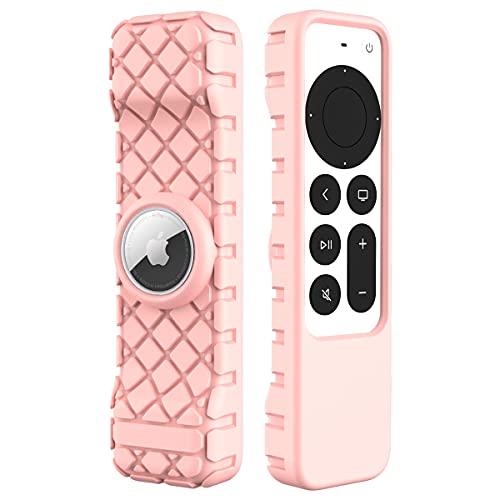 CUXEU Funda Protectora para Apple TV Siri Remote 2021 y AirTag - Funda de Silicona Ligera Antideslizante a Prueba de Golpes para Apple TV 4K / HD Siri Remote Controller (2da generación) (Rosa)
