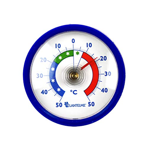 Lantelme Kühlschrankthermometer Selbstklebend blau Bimetall Gefrierschrankthermometer Analog Thermometer + - 50 °C 7981