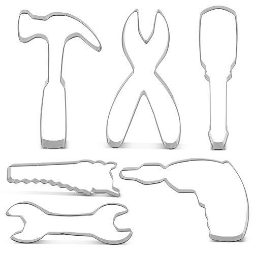 KENIAO Werkzeuge Ausstechformen Set für Vatertag/Tag der Arbeit - 6 Stück - Bohrmaschine, Hammer, Schraubenschlüssel, Zangen, Schraubenzieher und Säge Ausstecher - Edelstahl