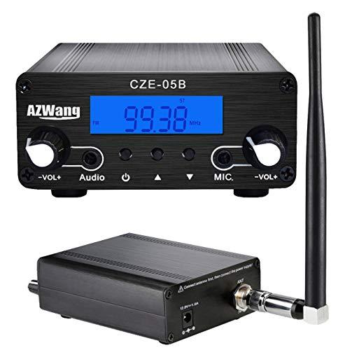 AZWang FM Stereo Transmitter for Church 0.5W/0.1W 76MHz~108MHz LCD FM Transmitter Broadcast Mini Radio Station